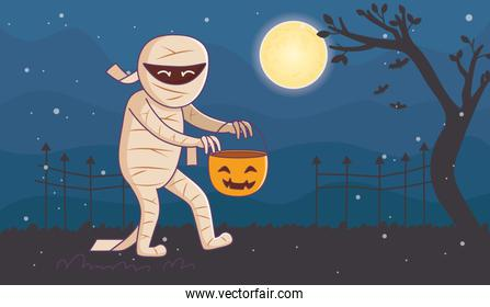mummy with bucket pumpkin night moon trick or treat, happy halloween
