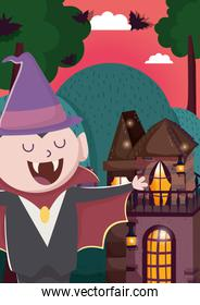 boy with dracula hat castle trick or treat, happy halloween