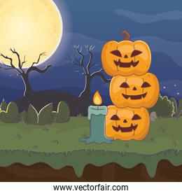 pile pimpkins candle night moon trick or treat, happy halloween