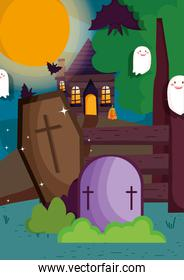 ghosts bats coffin gravestone and house trick or treat, happy halloween