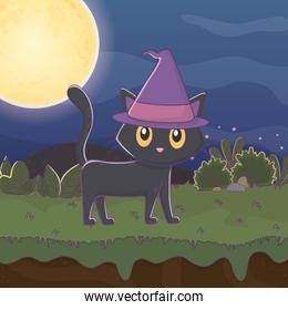 black cat with hat night moon trick or treat, happy halloween