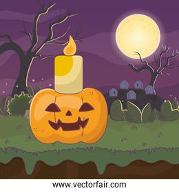 candle on pumpkin cemetery trick or treat, happy halloween