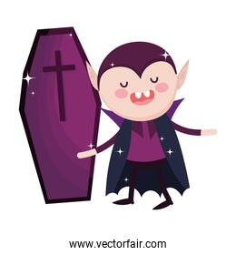 dracula with coffin trick or treat happy halloween