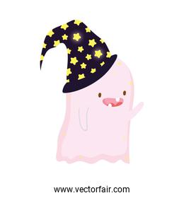 ghost wearing hat with stars trick or treat happy halloween