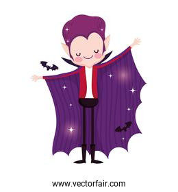 boy dracula costume with cape and bat trick or treat happy halloween