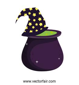 cauldron with witch hat trick or treat happy halloween