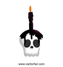 skull with candle trick or treat happy halloween