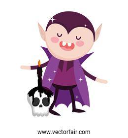 dracula with skull and candle trick or treat happy halloween