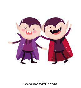 draculas character with cape and teeth trick or treat happy halloween
