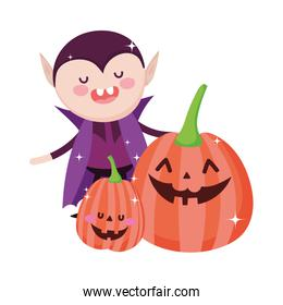 dracula with smiling pumpkins trick or treat happy halloween