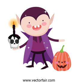 dracula pumpkin and skull burning candle trick or treat happy halloween