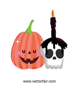 pumpkin skull and burning candle trick or treat happy halloween