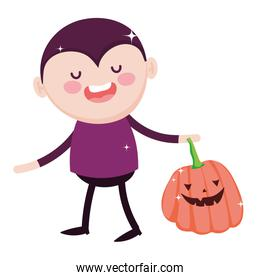 dracula with pumpkin decoration trick or treat happy halloween