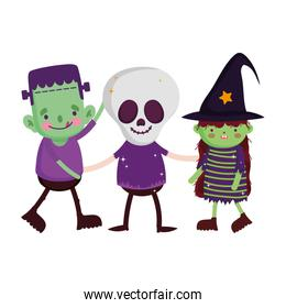 kids with   costumes characters  trick or treat happy halloween