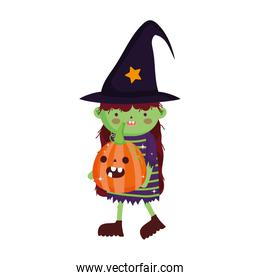 girl witch costume with pumpkin trick or treat happy halloween
