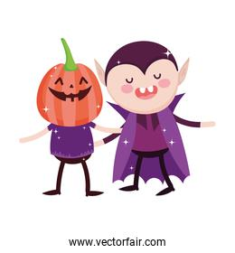 kids with pumpkin and dracula costume trick or treat  halloween