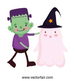 kids with frankenstein and ghost costume trick or treat happy halloween