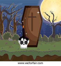 coffin and skull candle night moon trick or treat, happy halloween