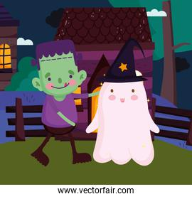 boys frankenstein and ghost with hat costume halloween image