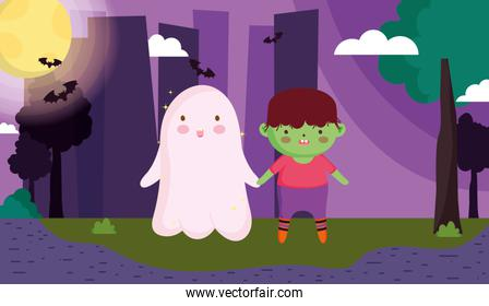 monster boy and ghost costume bats halloween image