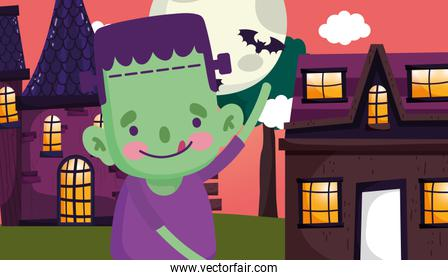boy frankenstein tongue out costume halloween image