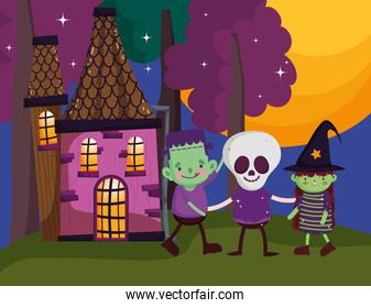 boys and girl frankenstein skeleton and witch costume halloween image