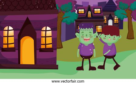 boys with green frankenstein and monster costume halloween image