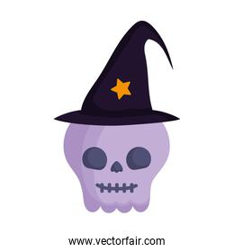 skull with hat trick or treat, happy halloween