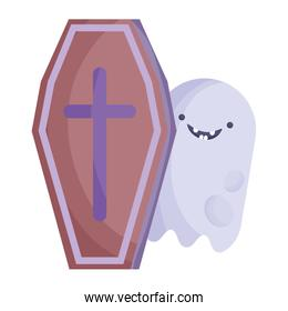 smile ghost coffin with cross trick or treat, happy halloween