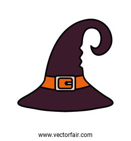 witch hat with ribbon trick or treat, happy halloween
