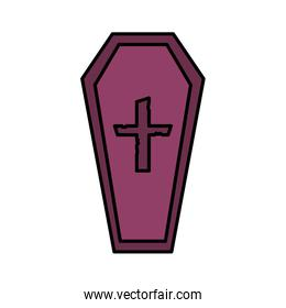 coffin with cross death trick or treat, happy halloween