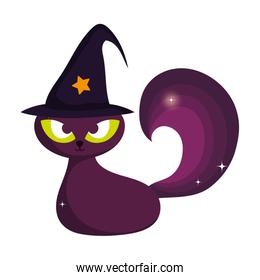 black cat with hat trick or treat, happy halloween