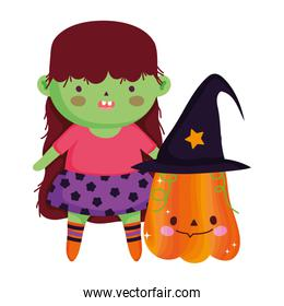 green girl witch costume with pumpkin trick or treat, happy halloween