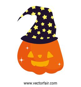 smile pumpkin with hat trick or treat, happy halloween
