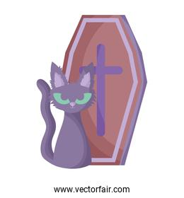 coffin and cat trick or treat, happy halloween
