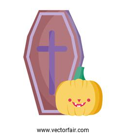 coffin and smile pumpkin trick or treat, happy halloween