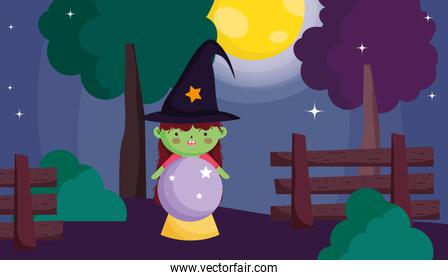 witch girl costume with crystal ball halloween image