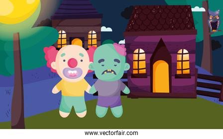boys clown and zombie village halloween image