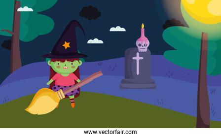witch girl costume with broom halloween image