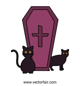 coffin with cross cats  trick or treat, happy halloween