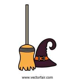witch broom and hat  trick or treat, happy halloween