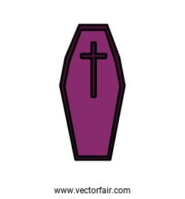 coffin with cross trick or treat, happy halloween