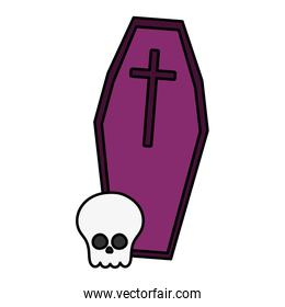 coffin and skull death  trick or treat, happy halloween
