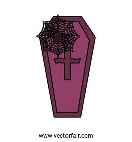 coffin spider and cobweb  trick or treat, happy halloween