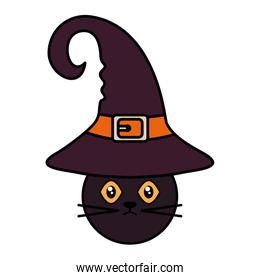 cat with witch hat  trick or treat, happy halloween