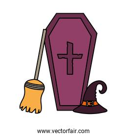 coffin hat and broom  trick or treat, happy halloween