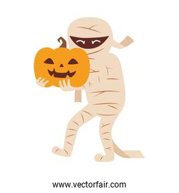 mummy character with pumpkin  trick or treat, happy halloween