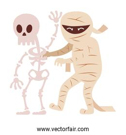 mummy and skeleton character costume  trick or treat, happy halloween