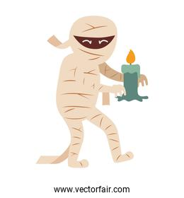 mummy character with candle  trick or treat, happy halloween