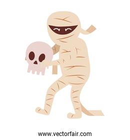 mummy character with skull  trick or treat, happy halloween